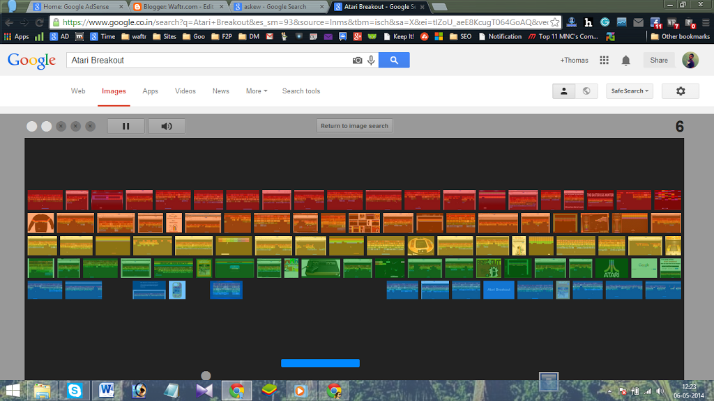Trick to play Game in Google search result page - Really Amazing-atari breakout