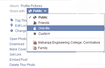Facebook tips and tricks adjust the setting to only me under the option share with you can do this only for profile picture cover picture is always visible to public and you ccuart Image collections