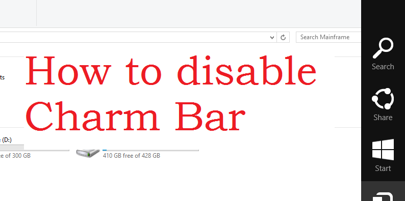 How to disable charm bar in Windows 8